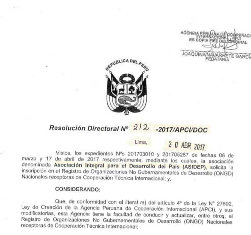 Resolucion APCI ONGD-212 – 2017