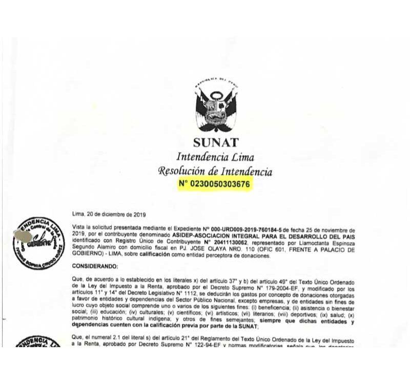 SUNAT – Perceptor de Donaciones